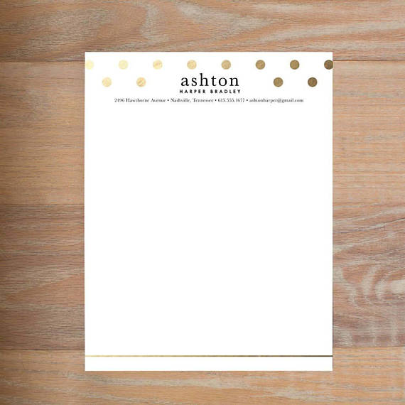 golden dots custom personal letterhead