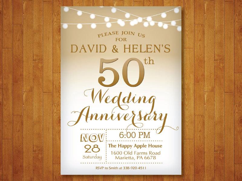 golden fiftieth wedding anniversary announcement example