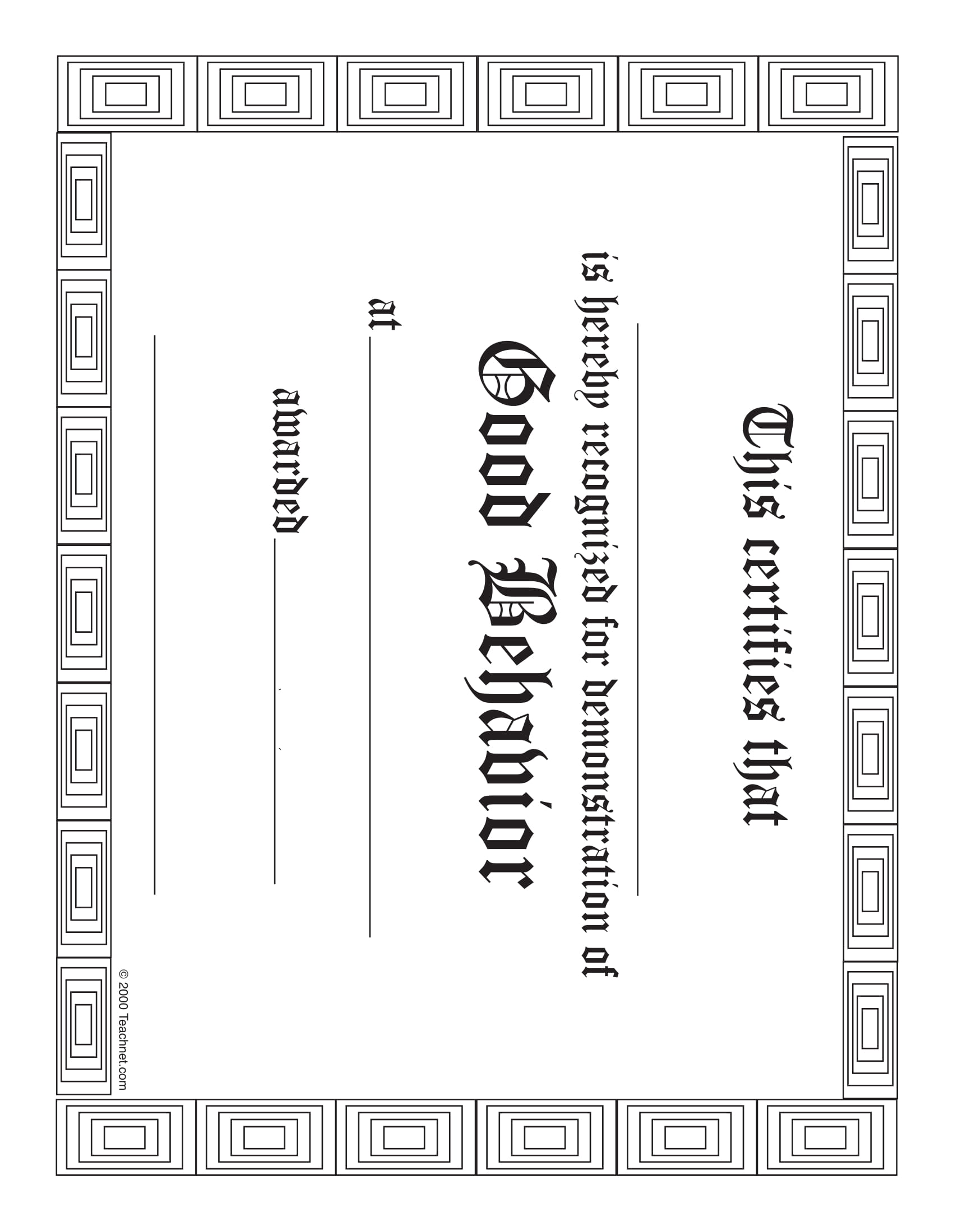 good behavior blank award certificate example