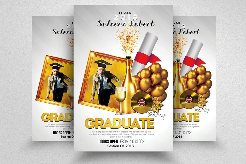 graduate party announcement flyer template example