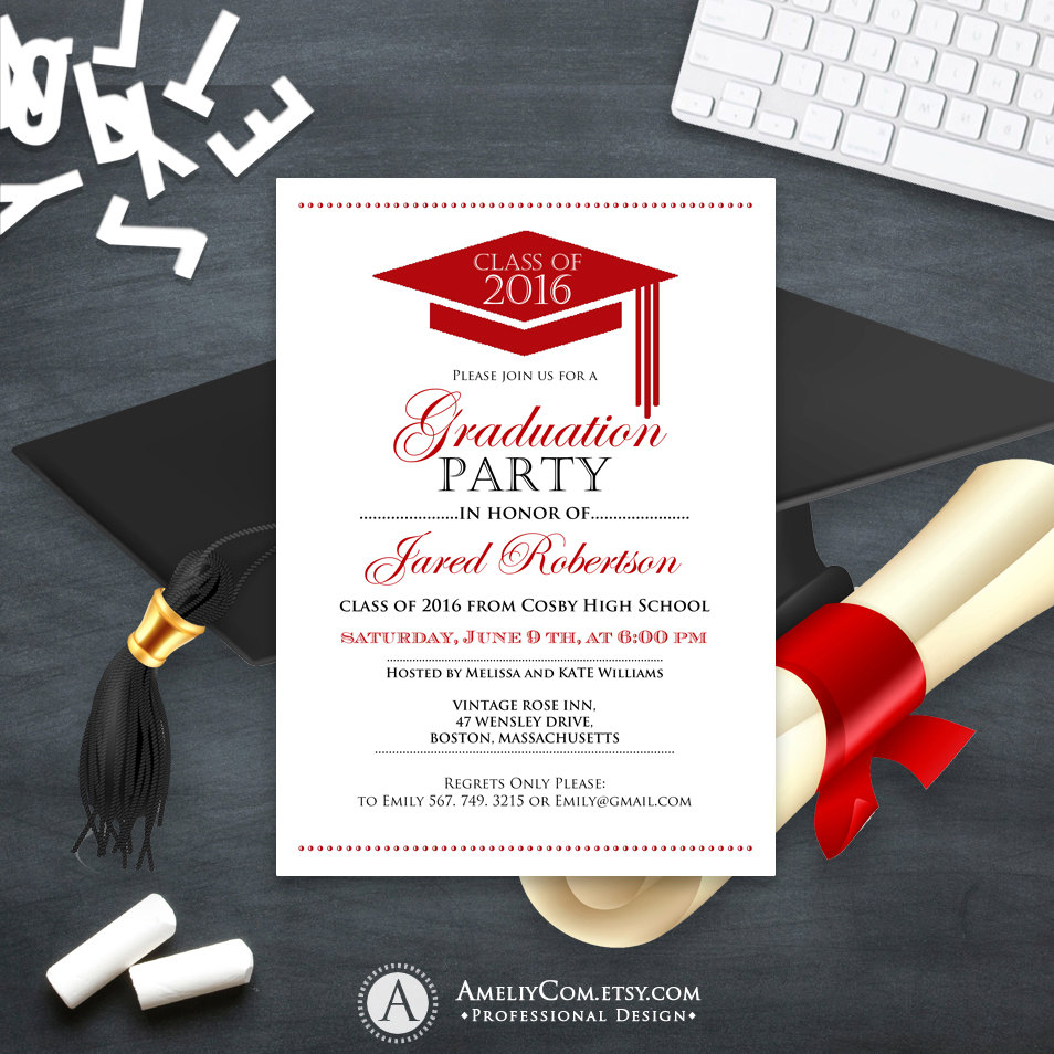 graduation cap announcement invitation example