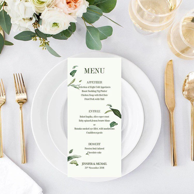 green leaves table menu card example