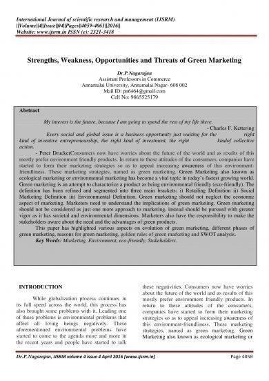 green marketing swot analysis example