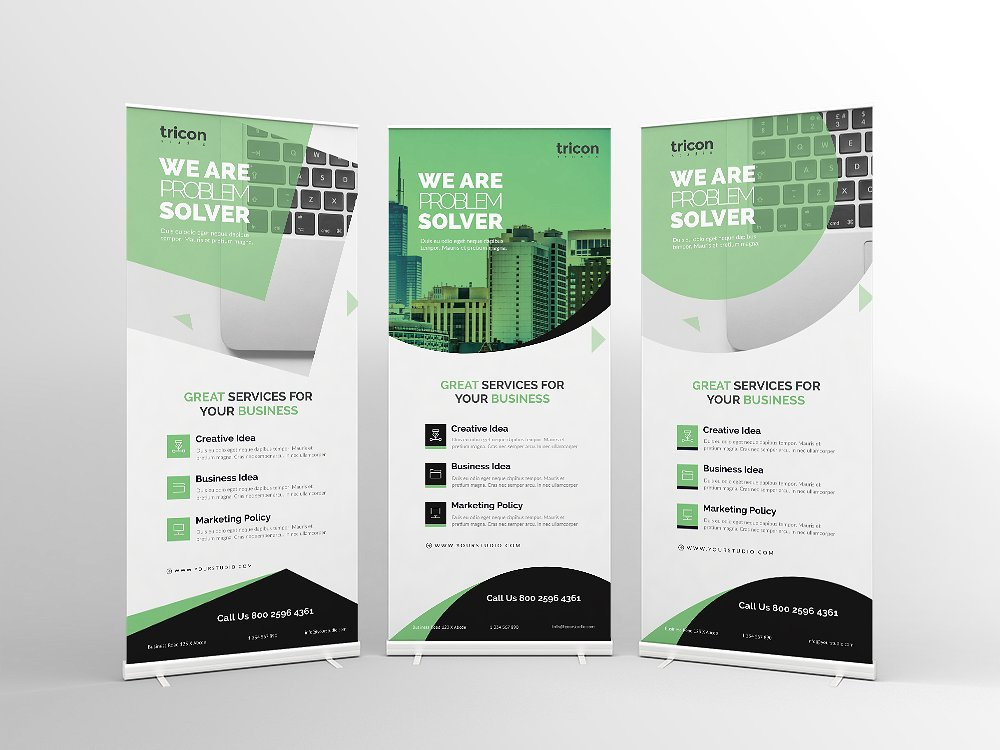 green roll up business banner example