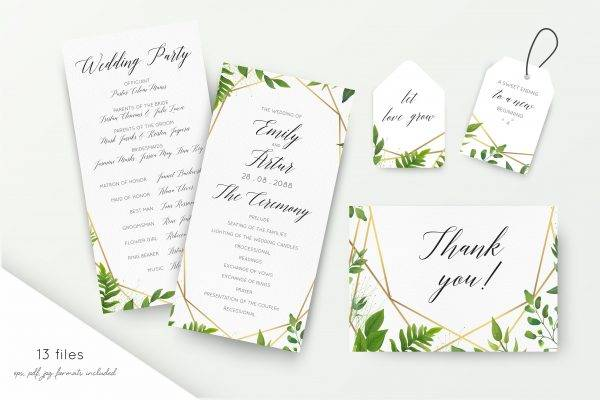 greenery gold wedding label set example1