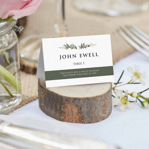 greenery wedding table card example1