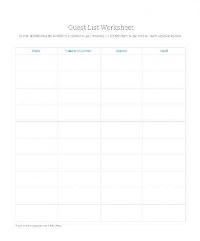 guest list worksheet example