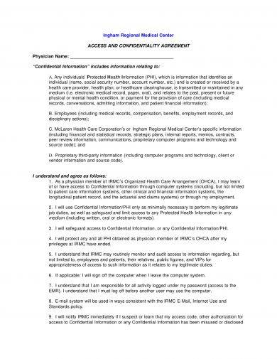 hipaa access and confidentiality agreement example