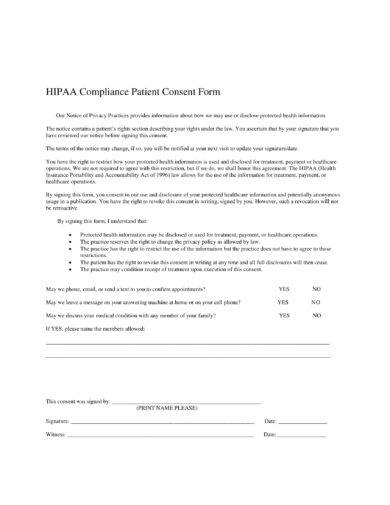 hipaa compliance patient consent form of agreement example