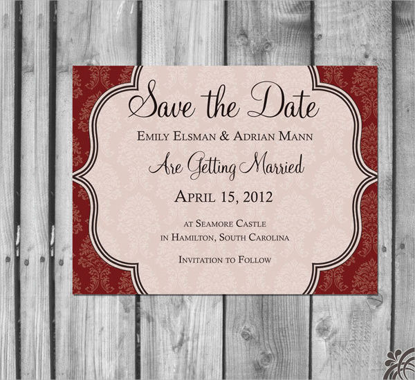 handmade damask save the date example1