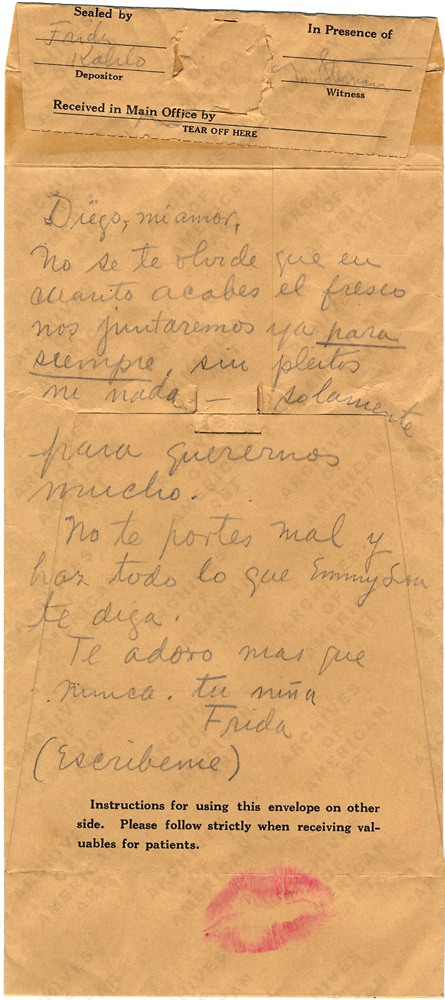 handwritten letter by frida kahlo