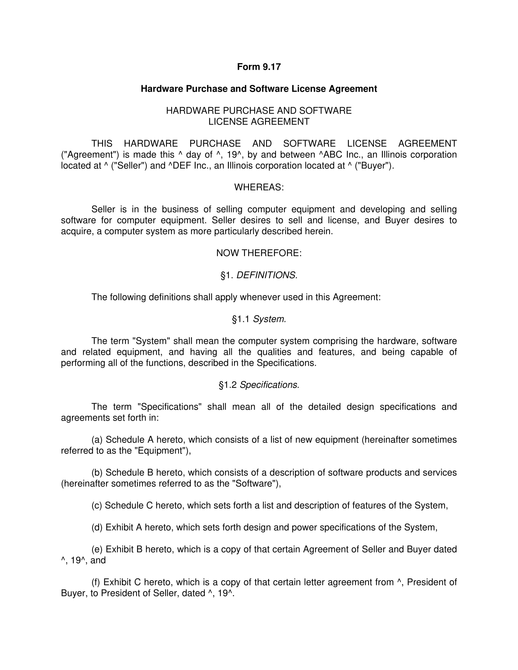 hardware purchase and software license agreement example