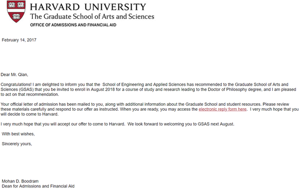 harvard university acceptance letter example