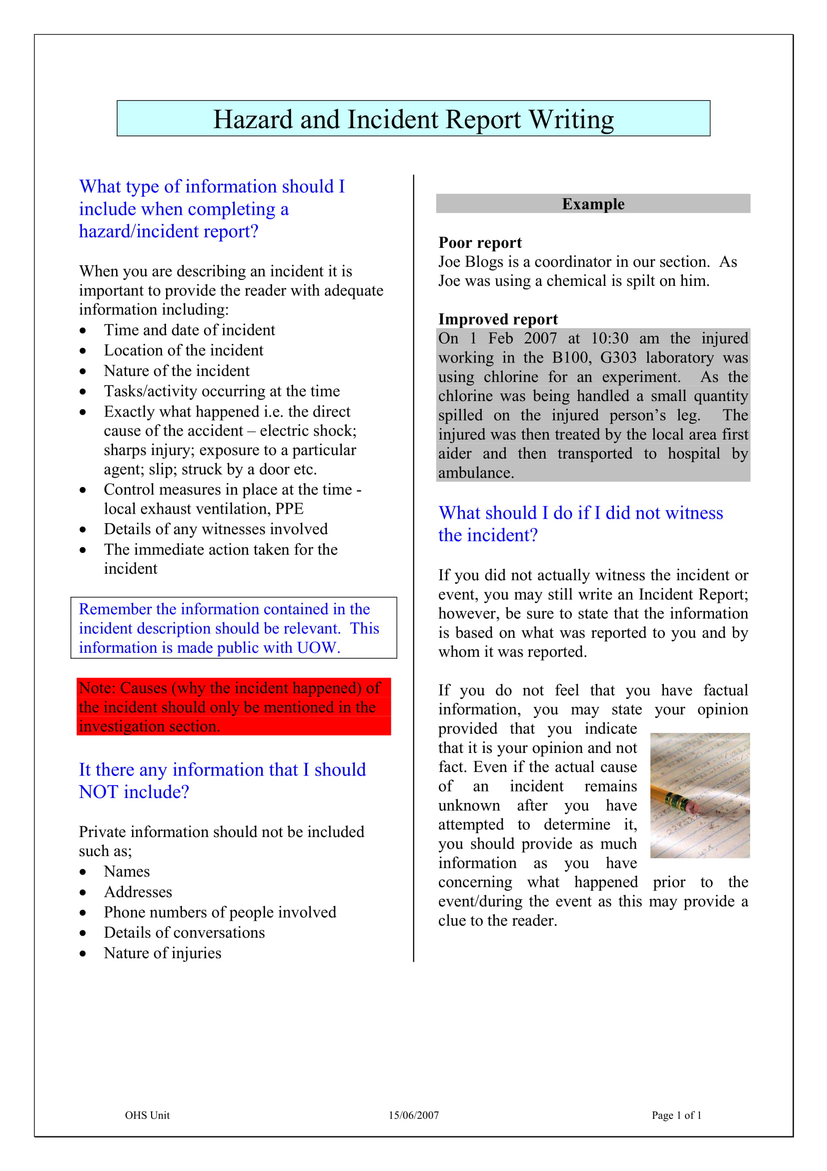 hazard and incident report writing example 1