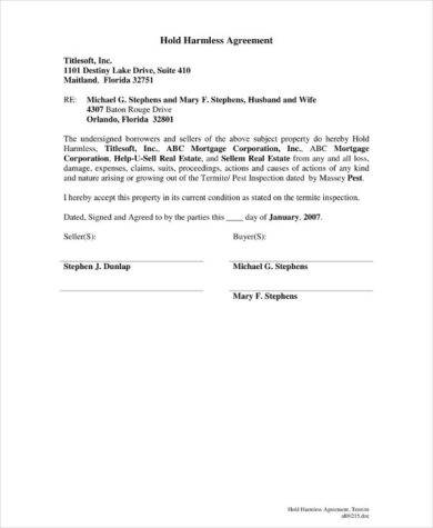 14 Hold Harmless Agreement Examples Pdf