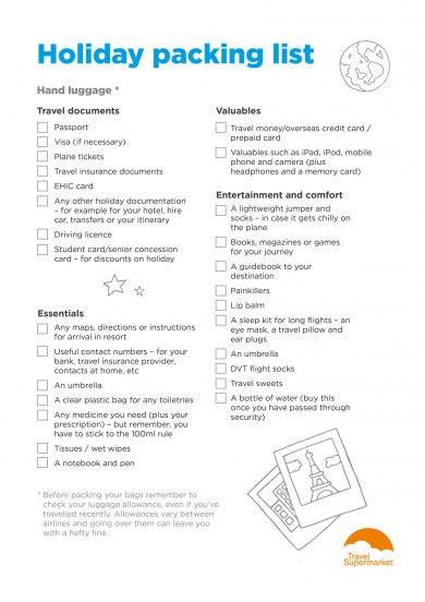 holiday packing list template example