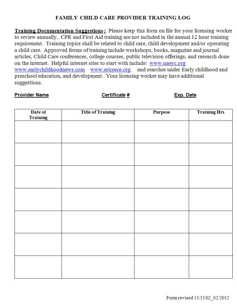 home child care provider training log example