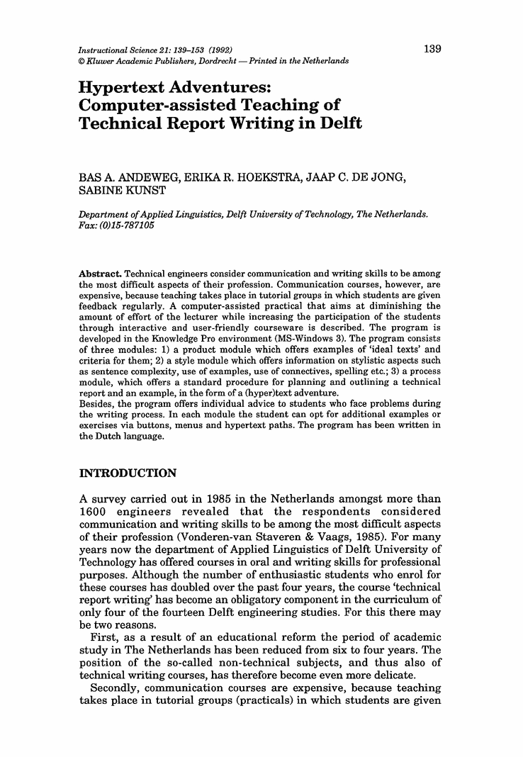 hypertext adventures computer assisted teaching of technical report writing in delft