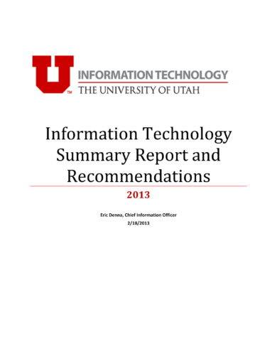 it assessment summary report and recommendations