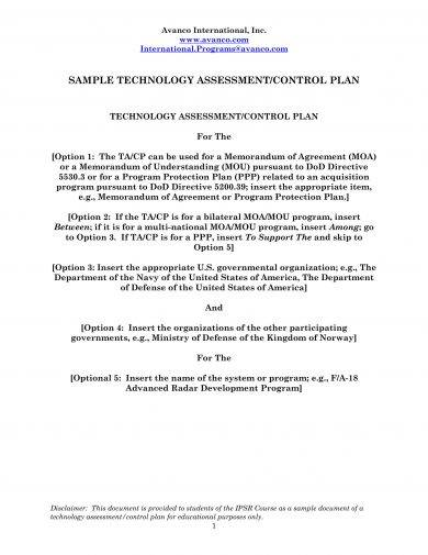 it assessment and control plan example