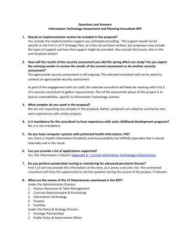 it assessment and planning consultant request for proposal example