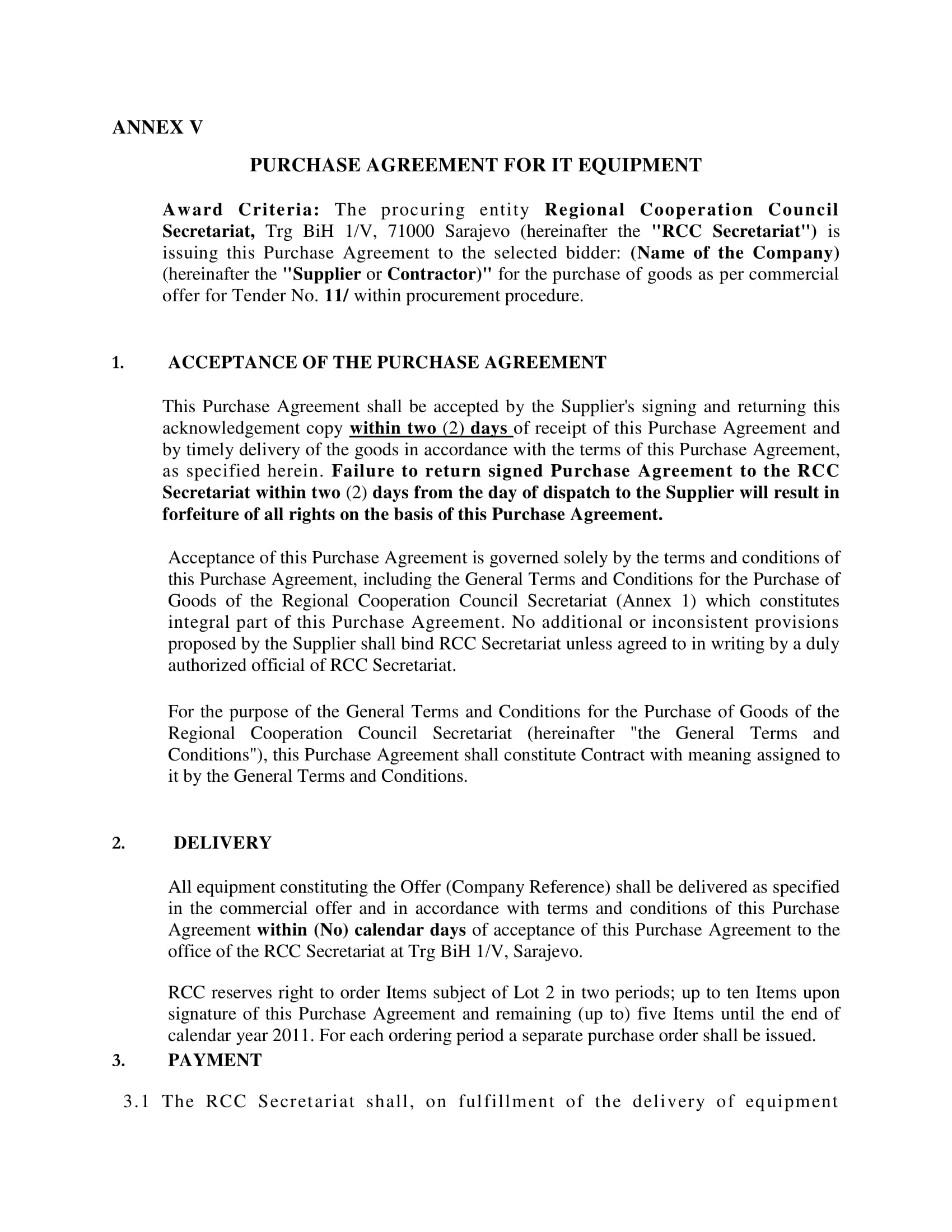 it equipment purchase agreement example