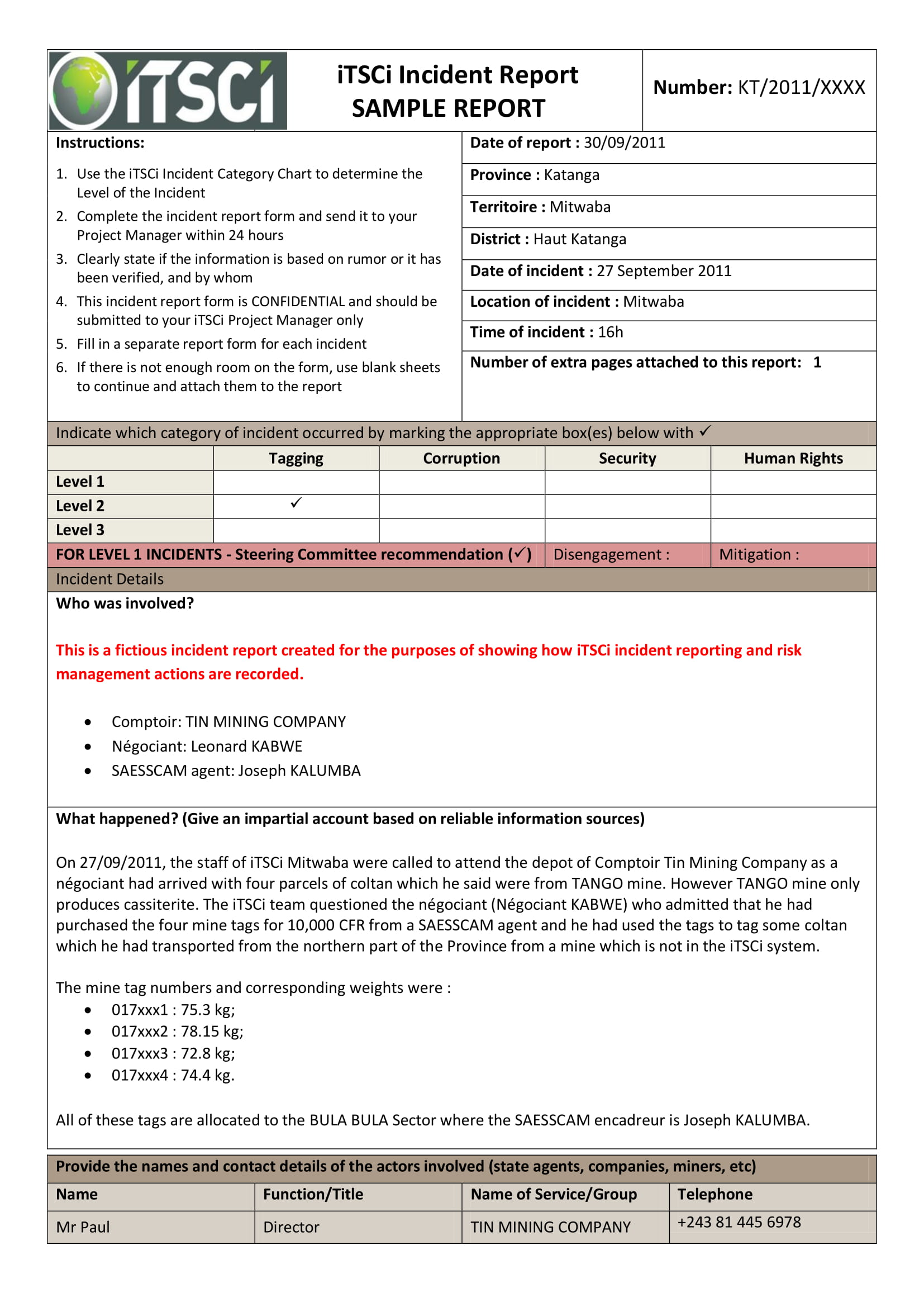 incident report format example 1