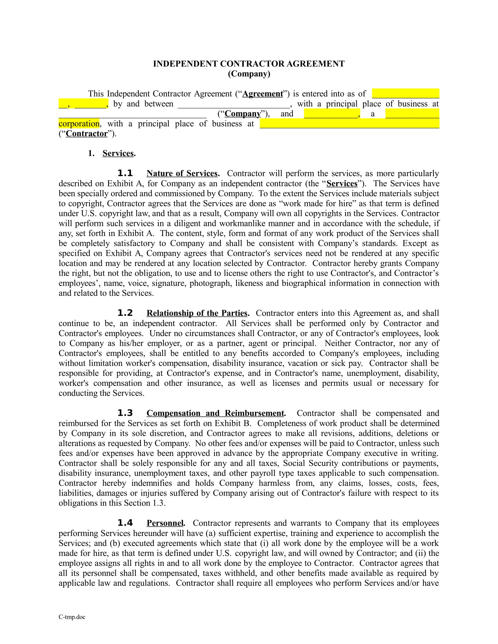 independent contractor agreement example