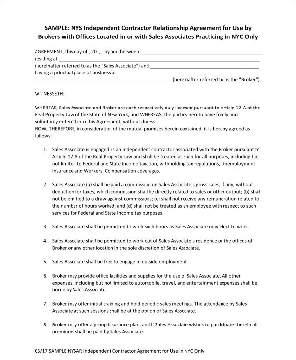 independent contractor relationship agreement example