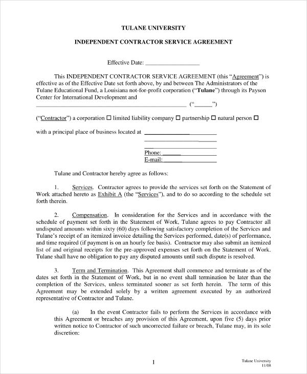 independent contractor services agreement template example
