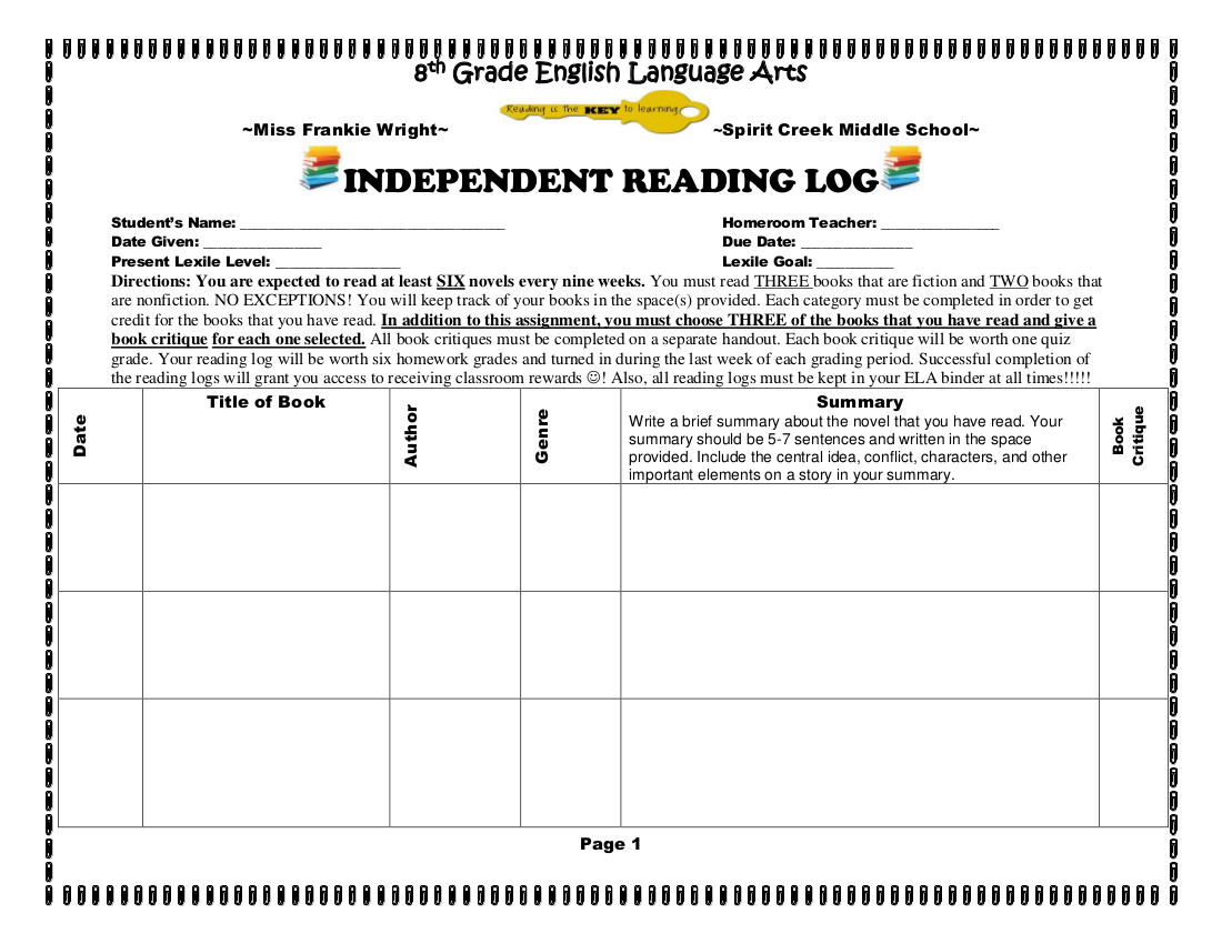 independent reading log example