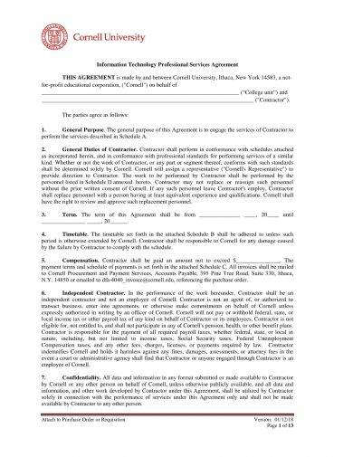 information technology professional services agreement example
