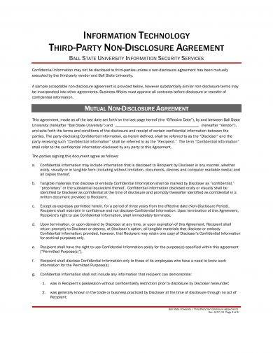 information technology third party non disclosure agreement example
