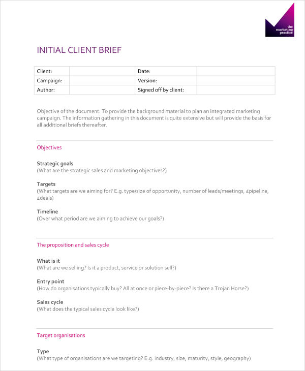 initial client brief example