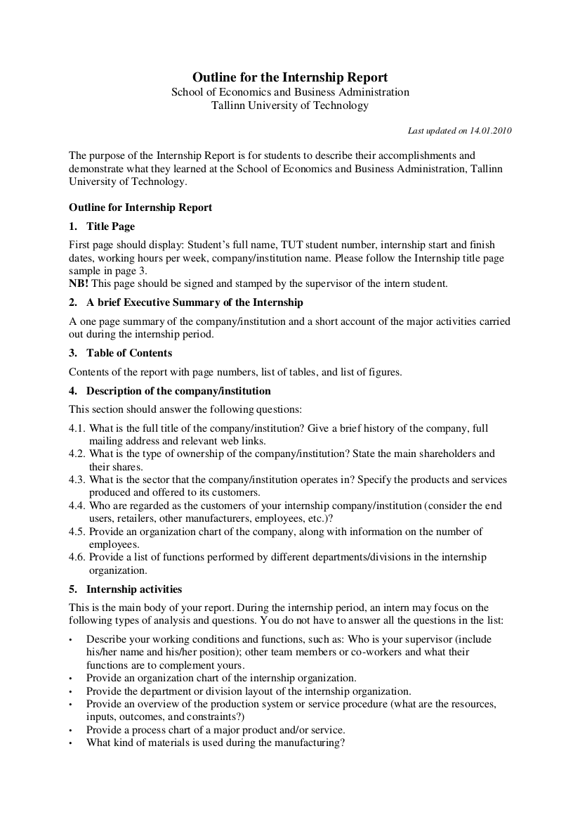 internship report outline example