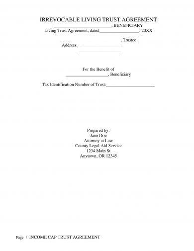 irrevocable living trust agreement example
