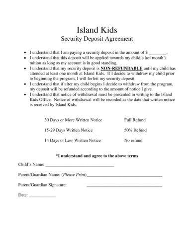 island kids security deposit agreement example1