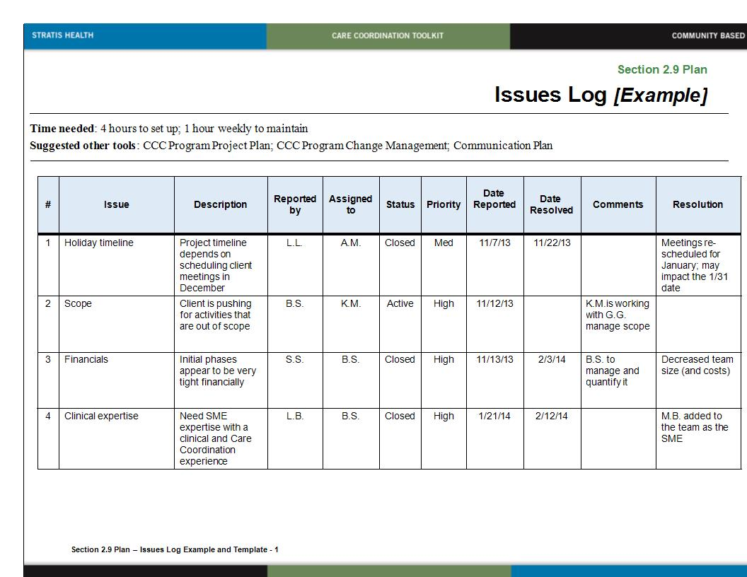 issues log example