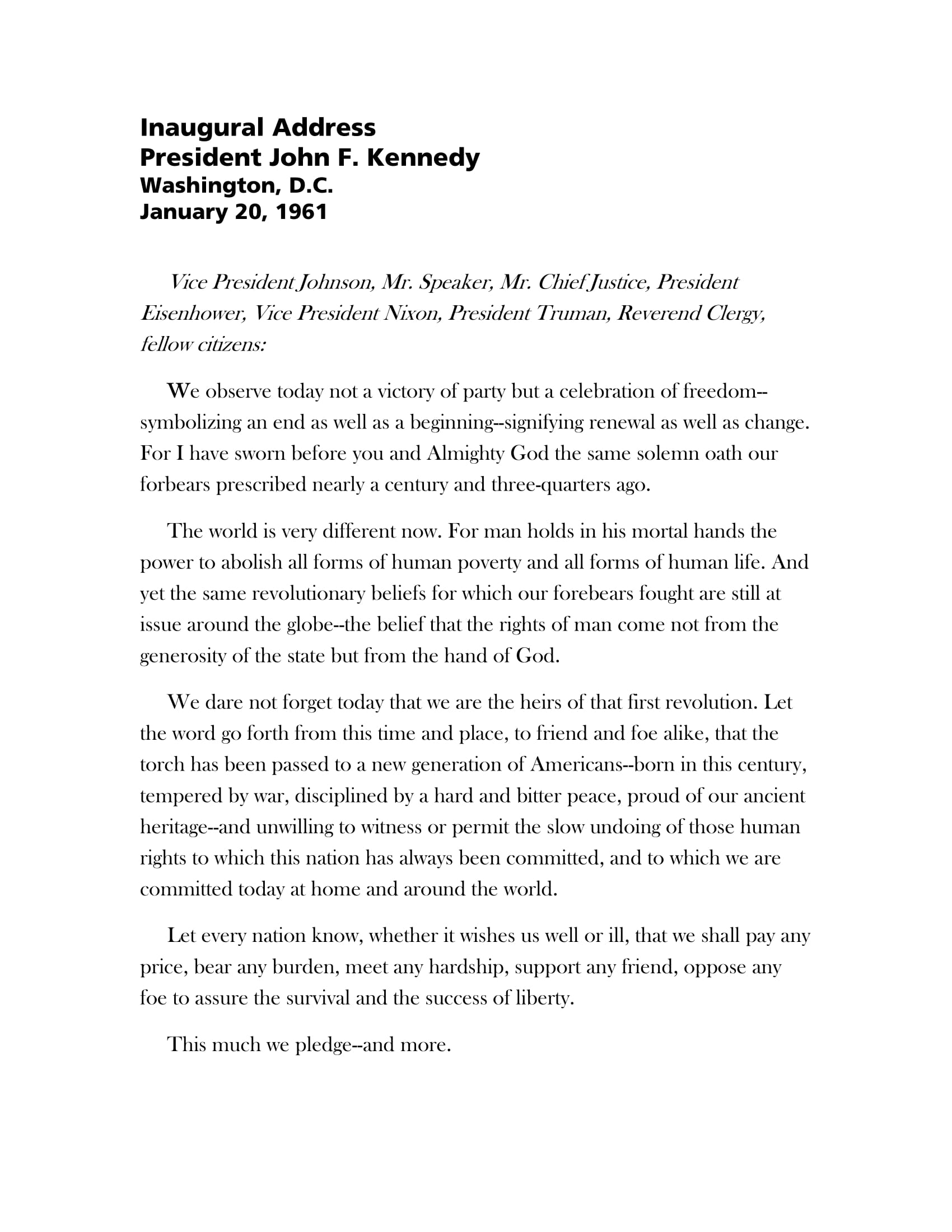 jfk inaugural address example