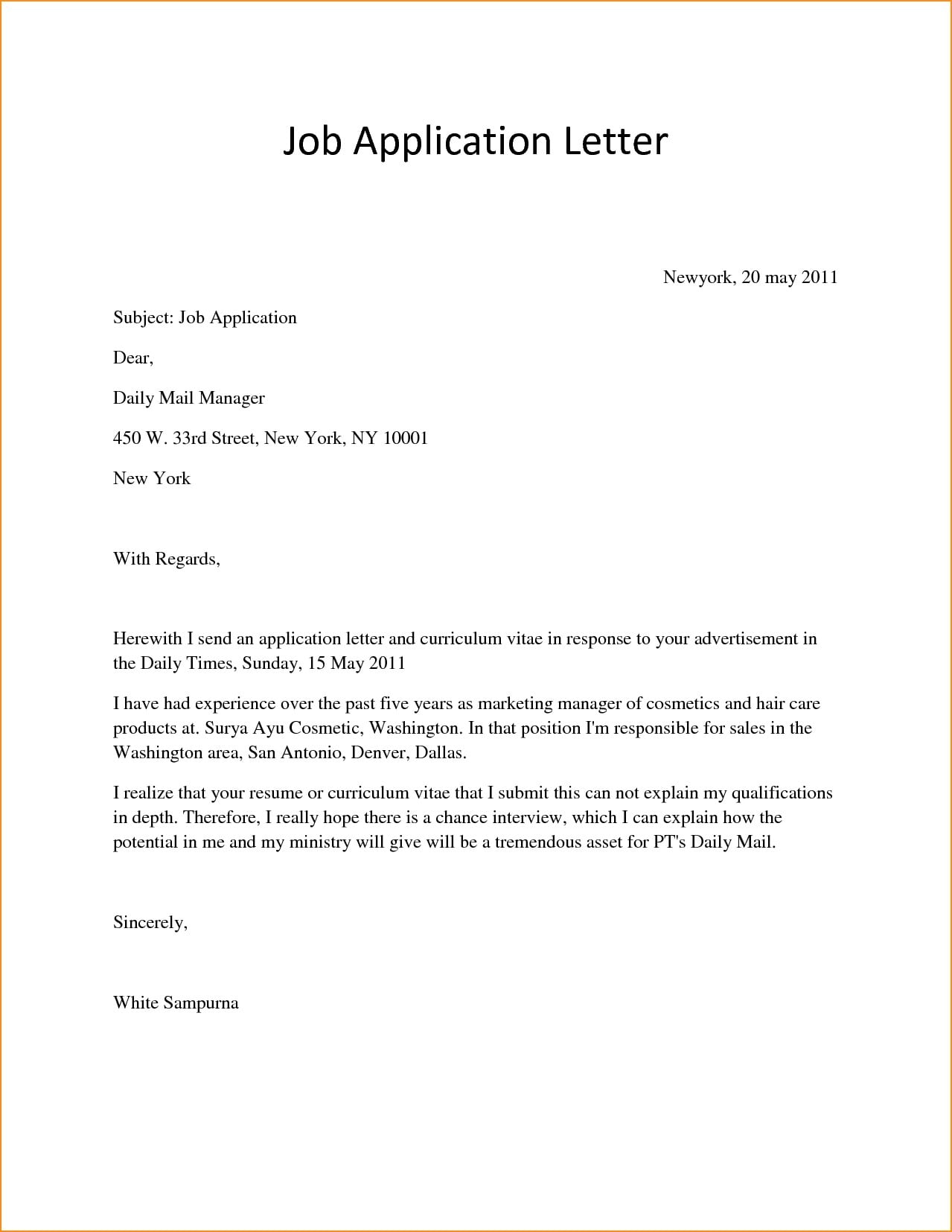 job application letter for review example