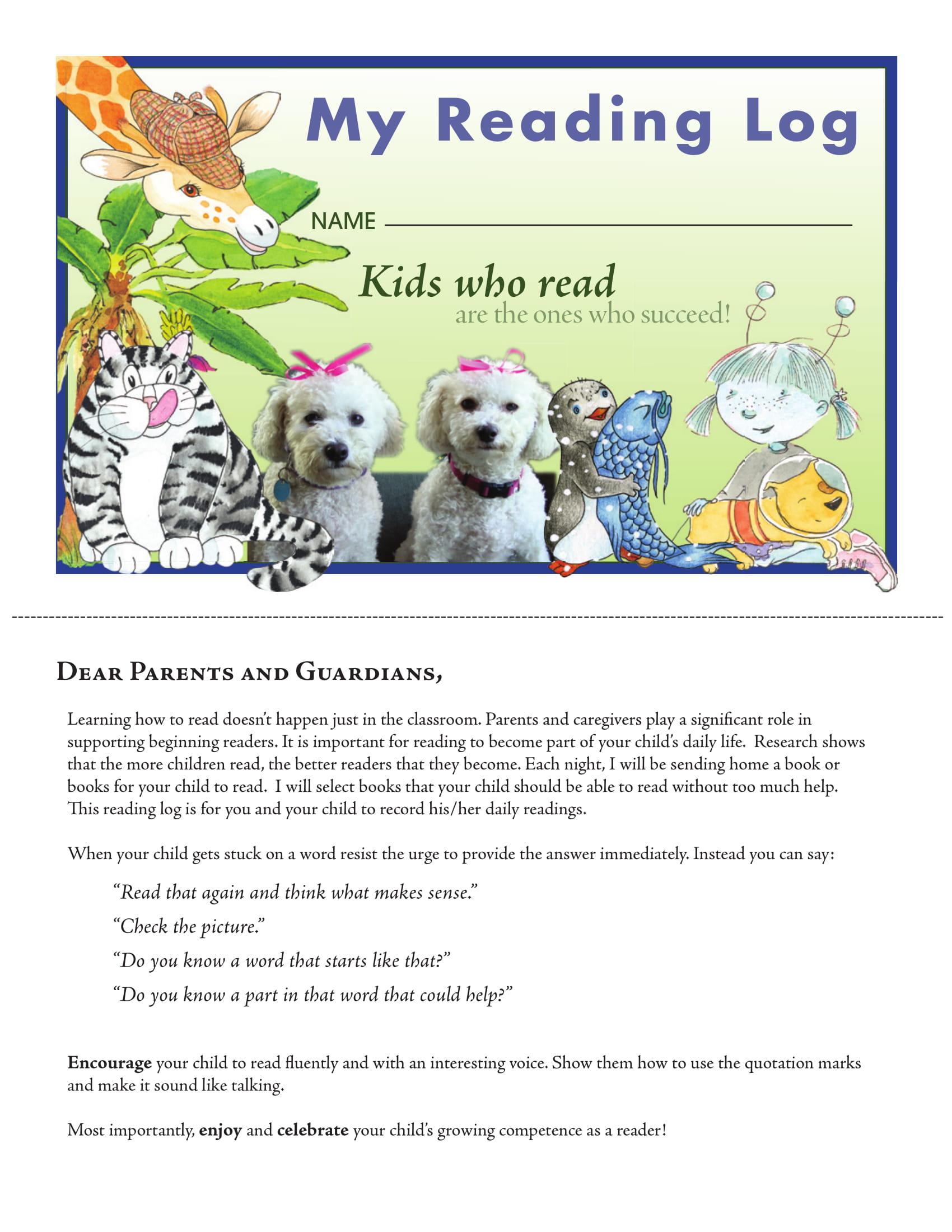 kids reading log example