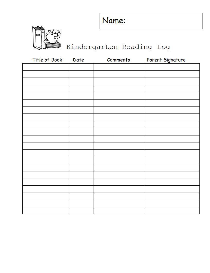 kindergarten reading log example