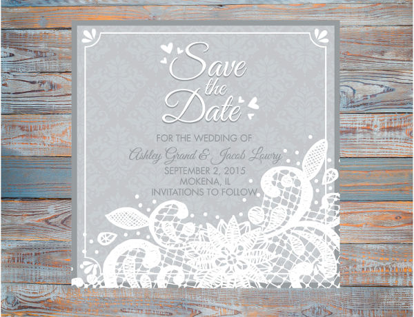 lace vintage damask save the date example1