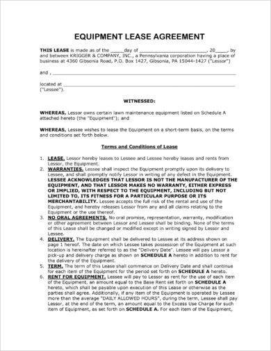 lawn maintenance equipment lease agreement example1
