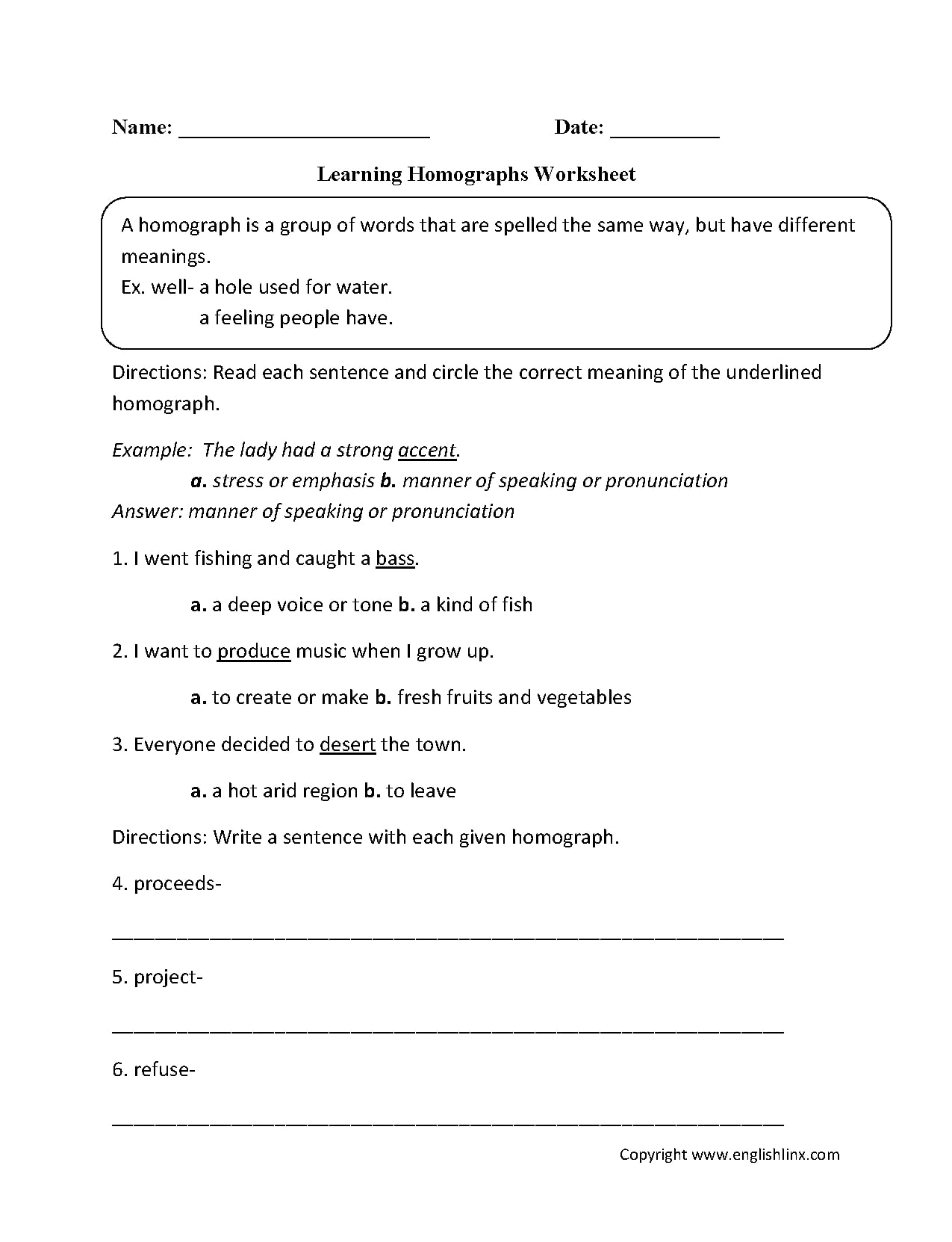 learning homographs worksheet example