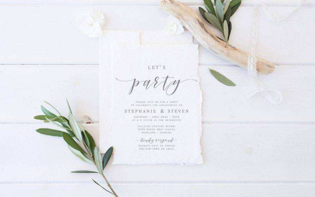 lets party modern engagement party invitation template example