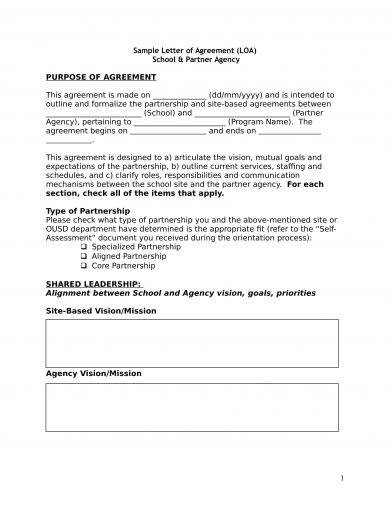 letter of agreement between school and partner age