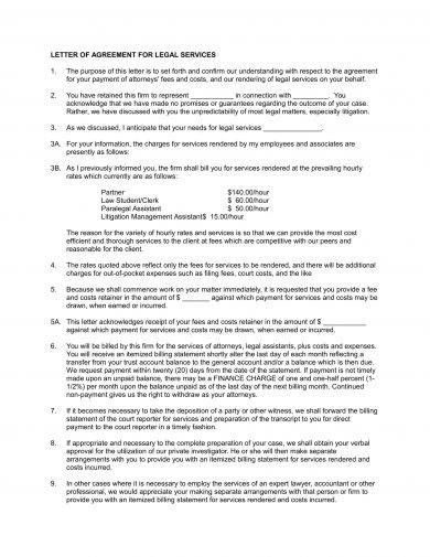 letter of agreement for legal services example 11