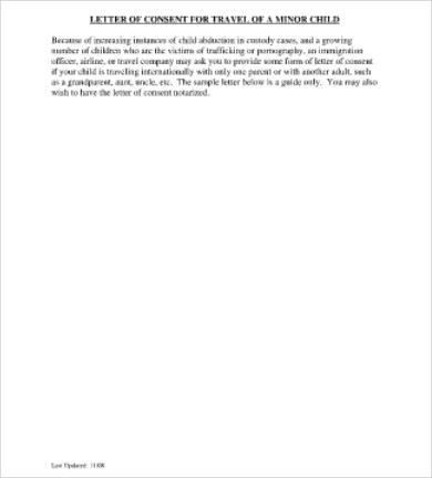letter of consent for travel of a minor child