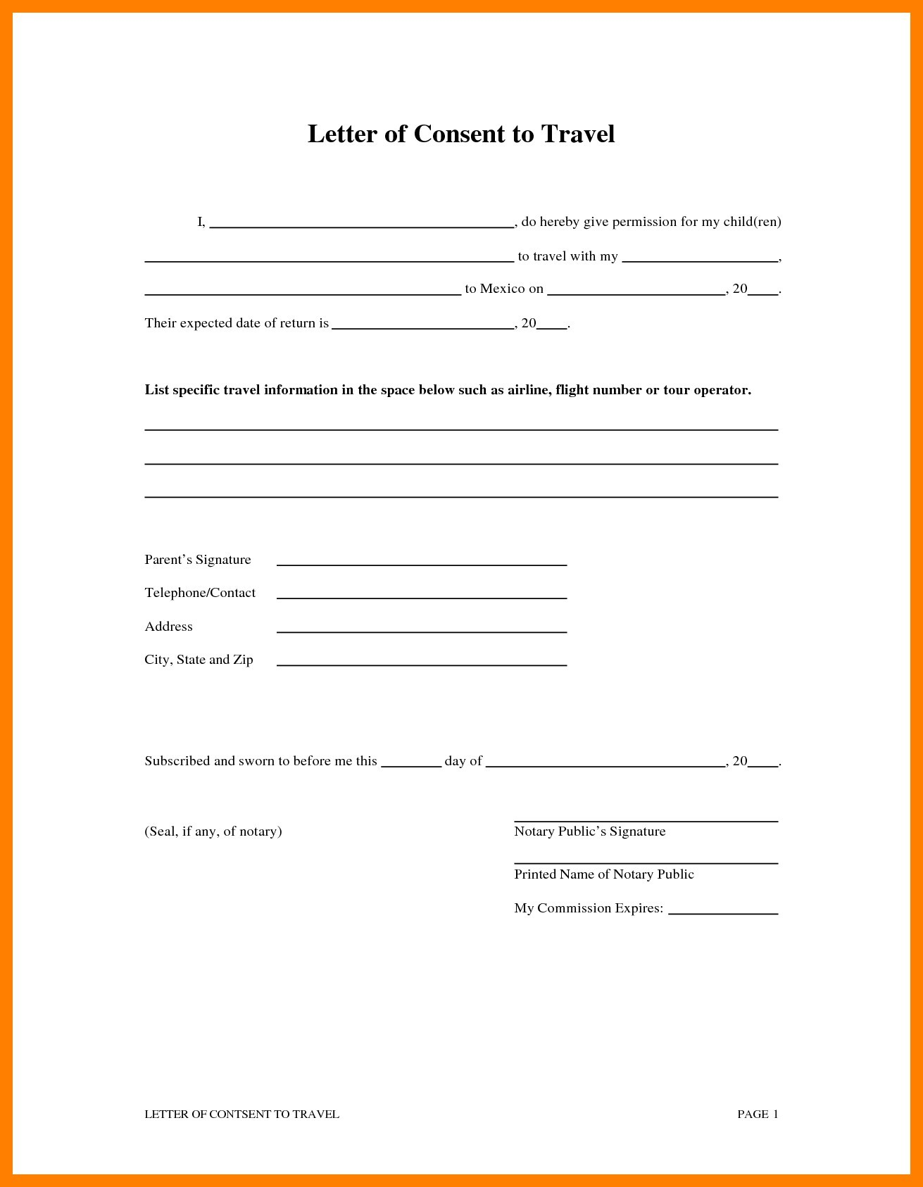 Child international travel consent form.
